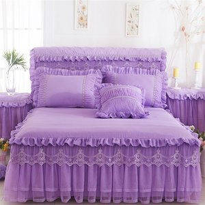 Lace Bed Skirt Pillowcases Pink Romantic Wedd Ruffle Bed Cover Princess Bedspreads Bed sheet King Queen Twin Size Home Textile 356 R2