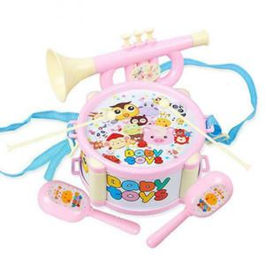 6 adet Bebek Müzik Oyuncaklar El Davul Trompet Oyuncak Perküsyon Enstrüman Bant Kiti Erken Öğrenme Eğitici Bulmaca Oyuncak Q0313