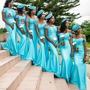 Custom Made Turquoise Bridesmaid Dresses 2021 New African Black Girl Long Off The Shoulder Mermaid Bridesmaids Dress Formal Wedding Gowns
