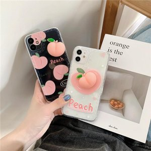 Fruit Peach Clear Phone Case For 12 Mini 11 Pro Max XR XS 7 8 Plus Transparent Protection Soft Silicon Cover Cell Pouches