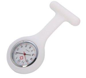 Рождественский подарок медсестра Медицинские часы Силиконовые зажима Карманные часы Мода медсестра Брошь FOB Туника Крышка Доктор Кварц-Кварцевые Часы GWC6908