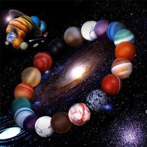 حبات الحجر الطبيعي أساور 10 ملليمتر المرأة اليدوية مطرز فروع الكون غالاكسي بريميوم الفضاء الكواكب الشمسية أساور للرجال هدايا HWA5702