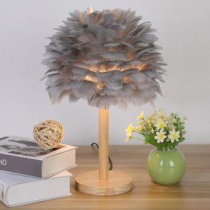 Table Lamps Creative Feather Light Girl Wedding Decorative Lights Pink White Birthday Lamp E27 EU Plug