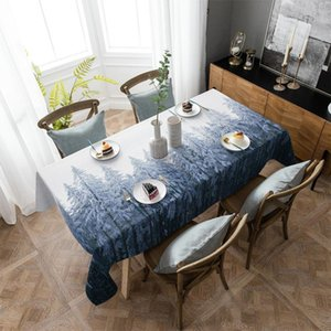 Table Cloth Pine Forest Snowflakes Tablecloth Rectangular Christmas Dinning Decor Cover Waterproof