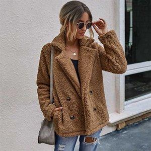 Autumn Teddy Coat Women Faux Fur Coat Female Thick Warm Plush Teddy Jacket Long Sleeve Winter Coat Women 211019