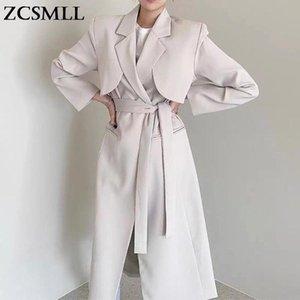 Women's Trench Coats ZCSMLL Korean Autumn Elegant Temperament Suit Tie Waist Slimming Over The Knee Long Cardigan Windbreaker Jacket Women