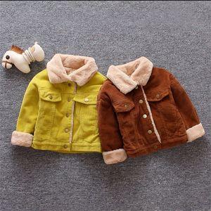 Meninas meninas meninos casual inverno casaco quente para crianças casaco de algodão de pelúcia crianças lapela outerwear 0-3 y toddler roupas de natal 795 v2