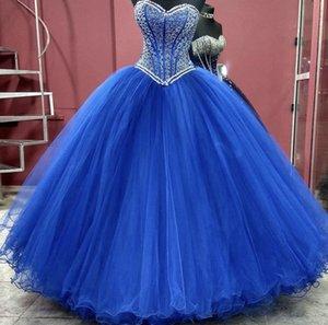 Prenses Balo Kraliyet Mavi Quinceanera Elbise 2021 Tatlı 16 Elbiseler Boncuklu Sequins Straplez Boyun Debutante Abiye Artı Boyutu Vestidos De 15