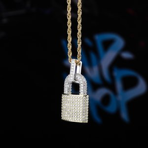 Hip Hop Gold Jewelry Fashion Mens Womens Silver Necklace Iced Out Lock Pendant Necklaces 4UP5