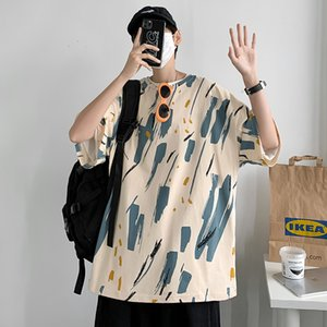 Мода мужские отпечатки с коротким рукавом футболки летнее досуг мальчики уличные круглые шеи футболка два цвета T31