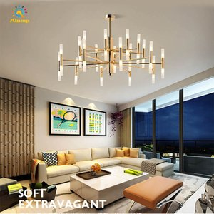Modern Branch Chandeliers Light G4 Bulb Acrylic Gold Shell 20 40 head Round Tube Ceiling Pendant Lamps for Kitchen Living Room Loft Bedroom