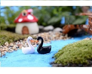 lovely mini cake toppers capsule toys white and black swan microlandschaft