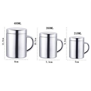 Double Wall Stainless Steel Coffee Mug With Lid Portable Cup Travel Tumbler Jug Milk Cups Office Water Mugs