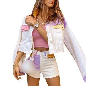 Women's Jackets 2021 Color Block Patchwork Denim Jacket Long Sleeve Button Down Jean Casual Slim Single Breasted Coat Streetwear