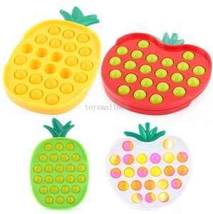 DHL Ship Fruit Designs Decompression Fidget Toys Educational Push Bubble Press Plate Sensory Anxiety Stress Reliever FY2748