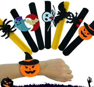 Shape Party Bracelet Halloween Pumpkin Bat Ghost Slap Series Decoration Clap Plush Pat Hand Circle Toy Bangle for Children