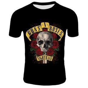 2020 New Skull Rose Flower T-shirt da uomo Summer Black Tshirt Band Street Wear Uomo uomo 3D stampato T Shirt Skull Rose Flower Tee ShirtSoCer Jersey
