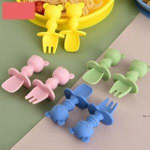 Cuillère bébé et fourchette Set Soft Silicone Bear Shape Baby Alimentation Spoon Grade Silicone Training Cuillère Toddler Couverts DHC6765