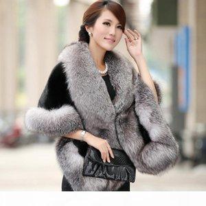 Elegant Womens Faux Mink Cashmere Winter Warm Fur Coat Shawl Cape Fashion Solid Ladies Faux Fur Poncho HO704471