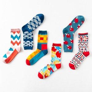 Men's Socks 85WB Unisex Colorful Dress Harajuku Geometric Striped Plaid Cotton Crew Hosiery