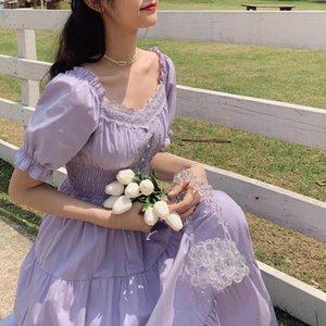 Bella Philosophy 2020 Purple Elegant Lace Long Maxi Vintage Square Collar Female Franch Dress Casual Holiday Lady Vestidos