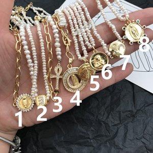 Collana di perle personalizzata collezione baroque perla catena catena di clavicola catena intarsiata guscio oro moneta collana pilata set femminile