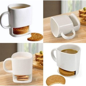 Ceramic Milk Cups with Biscuit Holder Dunk Cookies Coffee Mugs Storage for Dessert Christmas Gifts Ceramic Cookie Mug