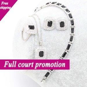 Xutaayi Square Black Pearl Silver Wedding Sets Earrings for Women Luxury Jewelry Bracelet Rings Bridal Hanger Chain