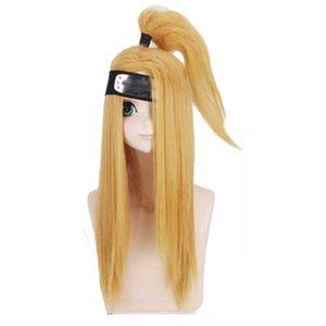 Deidara Full Set Cosplay Costume White Clay Bird Tongue Tattoo Wig Halloween for Height 135-185cm Holiday Gift Y0913