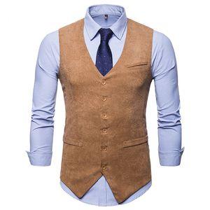 Men's Suit Vest Formal Business Dress Men Fashion Corduroy with 5 Button Regular Fit Waistcoat Vests 3 Pockets for Tuxedo M50