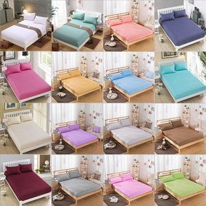 Sheets & Sets Fitted Sheet Mattress Cover Solid Color Sanding Bedding Linens Bed With Elastic Band Double Queen King Size Bedsheet