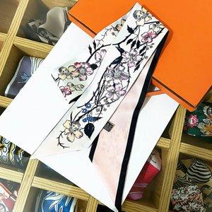 Moda kadın Çiçek Bandeau Chic Marka Tasarımcısı Atkısı Uzun Boyun Kravat Açık Bandana Saten Şallar Sarar Kafa Hairband