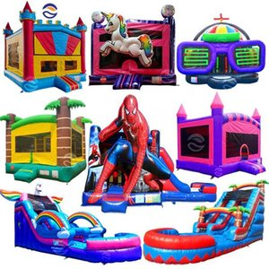 Party Moonwalk Moon Kids Commercial Inflatable Bouncer Slide Jumper Jump Bouncy Castle Bounce House Combo With Slide Water Pool