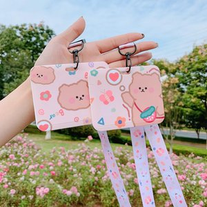 Card Holders Art Blue Cartoon Animal Bus Set Student Slide Cover Hanging Neck Creative Campus Cute Meal
