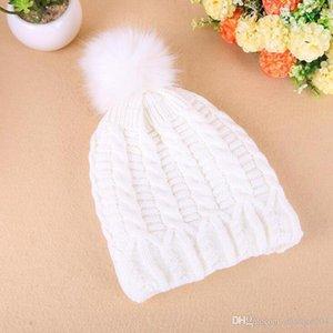 Fur Pompom Wool Winter Hats for Women Girls Knitted Skullies Beanies Thick Warm Fleece Pom Poms Hat Outdoor Ski Bonnet Femme