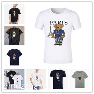 Wholesale high quality Paris city designer Poloshirt pattern 100% cotton and printed short sleeve bear T-shirt American size casual