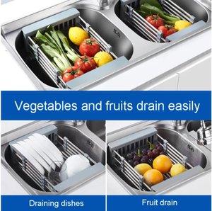Fruit Vegetable Sinks Cutlery Drainer Stainless Steel Drain Basket Telescopic Sink Rack Dish Cleaning Organizer Kitchen