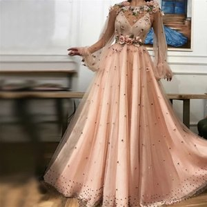 Elegant juliet long sleeves Evening Dresses Sexy A line 3D Flowers Floor Length Formal Party Prom Gowns