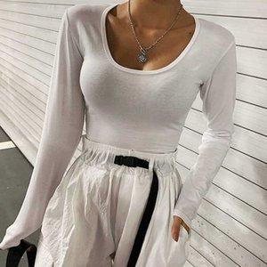 2021 Autumn Dress Style Women's Fashion Foreign Big U-neck Long Sleeve T-shirt Popular White Base Coat Early Autumn