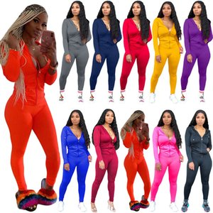 Women Solid Two Piece set top leggings jogger suits S-2XL tracksuits Hooded jacket pants Spring Autumn Biker outfits Casual pocket Zip Dance street wear DHL 072
