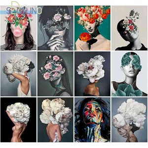 SDOYUNO 60X75cm Paint Figures DIY Oil By Numbers On Canvas Flowers And Women Frameless Digital Hand Painting