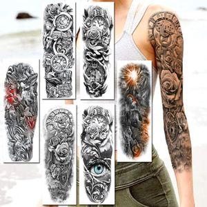 Perfectionsrealistic Водонепроницаемый полный рычаг Временные татуировки Поддельные часы Роуз злой EYS Rome Lion Knight Taтуос наклейка для женщин Мужчины макияж