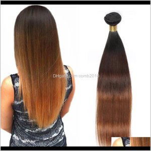 Peruvian Straight Human Hair Remy Hair Weaves Ombre 3 Tones 1B 4 30 Color Double Wefts 100G Pc Can Be Dyed Bleached Vrul7 Lawtc