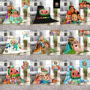 Kids Cocomelon Ji Flannel Blanket Cartoon Carpet 80*120cm 70*100cm Blankets Summer Nap Quilt Cover Beddings CoCo Melon Bed Sheet ACC G3886HE