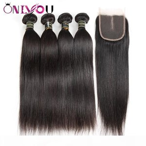 Silk Straight Human Hair Bundles with 4x4 Middle Part Lave Closure Cheap Brazilian Peruvian Raw Indian Virgin Hair Extension Weaves Bundles