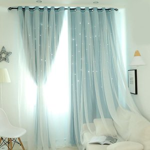 Curtain & Drapes Double Layer Blackout Curtains Star Cutout For Living Room Jinya Home Decor White Sheer Window Panels