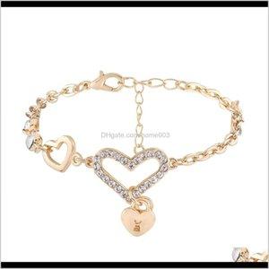 Braccialetto a doppio cuore pendente Braccialetto di fascino Amore Braccialetto con strass Braccialetto Gioielli di buona qualità Top Qualità per donna ElyGB O5A14
