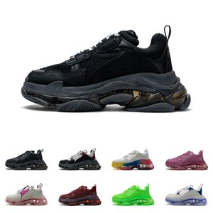Mens Triple S Обувь чистый подошвой кроссовки 3-слоистые навязки женские парижские 17FW черная белая буква красочные ретро дамы дизайнерские повседневные тренеры