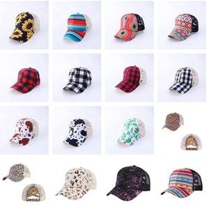 25 Farben Criss Cross Ponytail-Hüte Frau gewaschenes Mesh Mordy Bun Camo Leopard Sonnenblume Plaid Baseballkappe CYZ3009