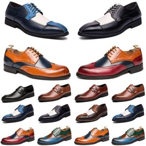 2021 luxury men casual shoes black brown red loafers Outdoor flat slip on fashion mens trainers sneakers size 40-47 color36